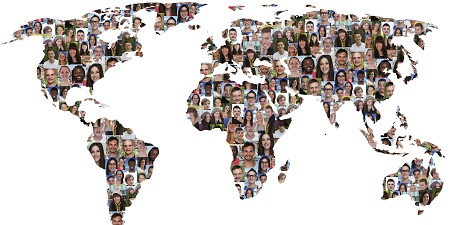 World map earth multicultural group of people integration diversity isolated